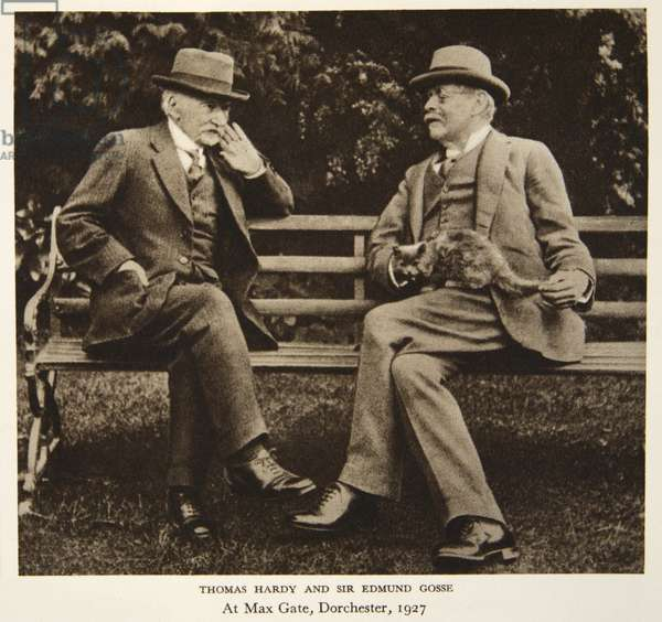 Thomas Hardy and Sir Edmund Gosse at Max Gate, Dorchester, 1927, photograph from The Times (sepia photo)