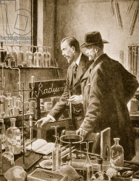 Pierre Curie chatting with Sir William Ramsay (litho)