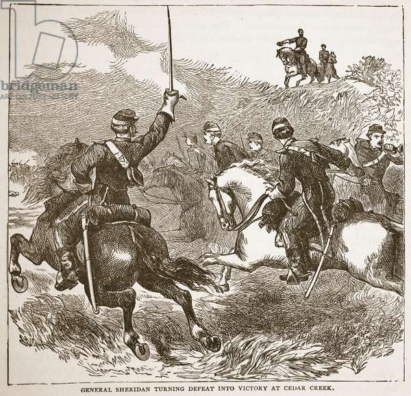 General Sheridan turning defeat into victory at Cedar Creek, from a book pub. 1896 (engraving)