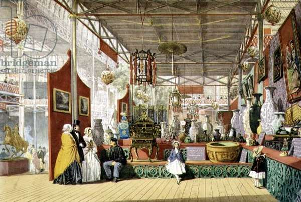 Hewitt's China Warehouse, from the interior stand in the Great Exhibition of 1851, from 'Dickinson's Comprehensive Pictures' (colour litho)