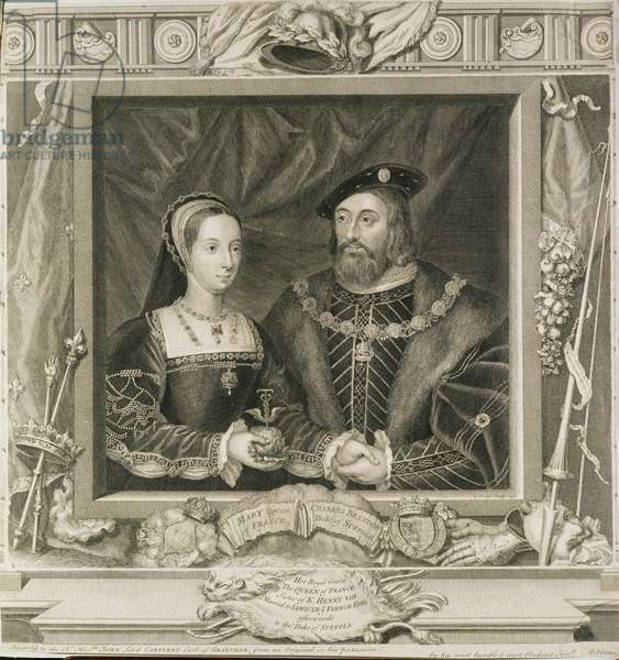 Portrait of Mary (1496-1533) Queen of France, and Charles Brandon (d.1545) Duke of Suffolk, engraved by George Vertue (1684-1756) 1748 (engraving) (see also 136496)