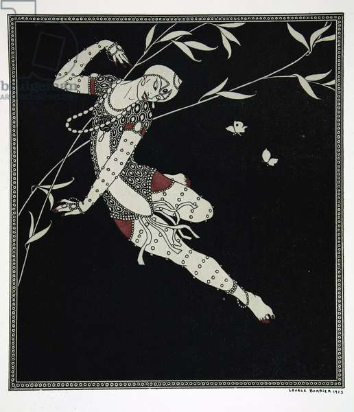 L'Oiseau de Feu, from the series 'Designs on the dances of Vaslav Nijinsky' (1889-1950). Georges Barbier (1882-1932), Pochoir Print