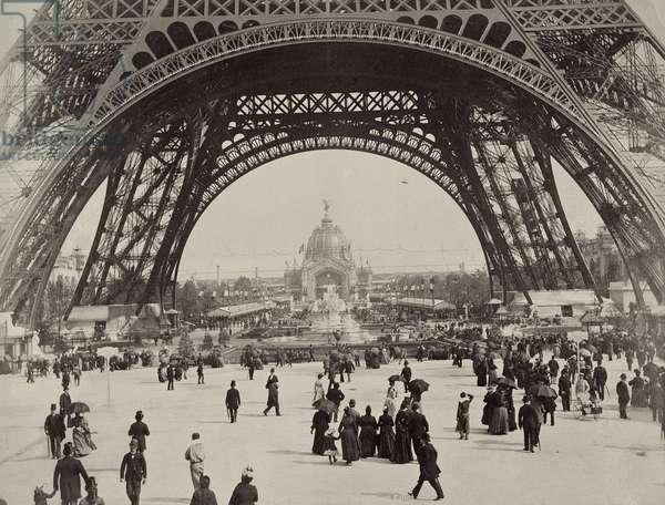 Under the Eiffel Tower, from 'L'Album de l'Exposition 1889' by Glucq, Paris 1889 (photogravure)
