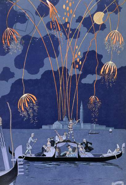 Fireworks in Venice, illustration for 'Fetes Galantes' by Paul Verlaine (1844-96) 1924 (pochoir print)