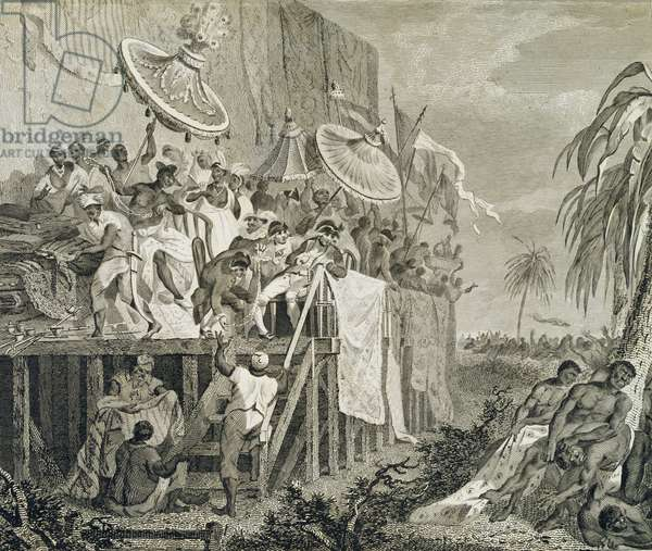 Last Day of the Annual Customs for Watering the Graves of the King's Ancestors, plate 147 from 'The History of Dahomey' by Archibald Dalzel, engraved by Francis Chesham (1749-1806) pub. 1793 (engraving)