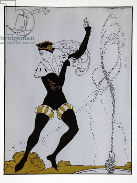 Le Pavillion d'Armider from the series 'Designs on the dances of Vaslav Nijinsky' (1889-1950). Georges Barbier (1882-1932), Pochoir Print
