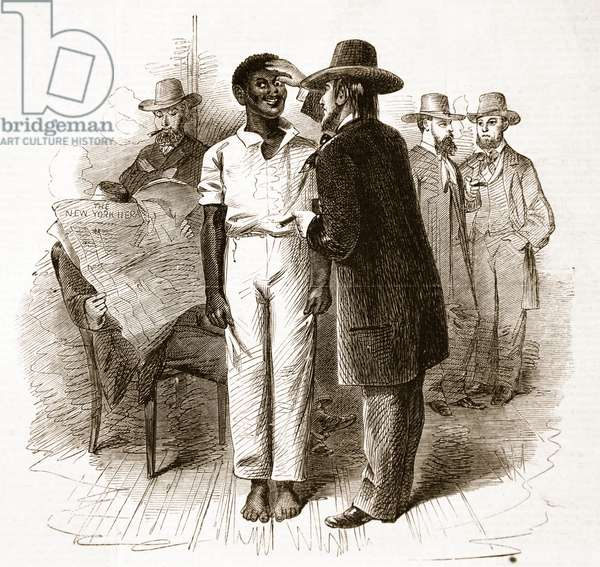 Dealers inspecting a negro at a Slave Auction in Virginia, from a sketch by our special artist, illustration from 'The Illustrated London News', 16th Feb 1861 (litho)