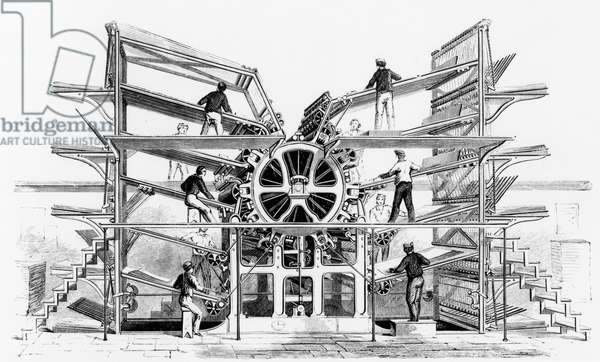 Cylinder printing press invented by Richard March Hoe (1812-86) New York, 1846 (litho) (b/w photo)