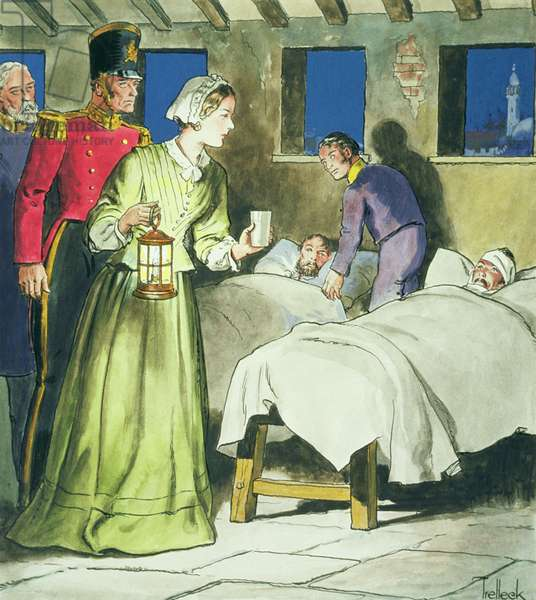 Florence Nightingale (1820-1910) from 'Peeps into the Past', published c.1900 (colour litho)