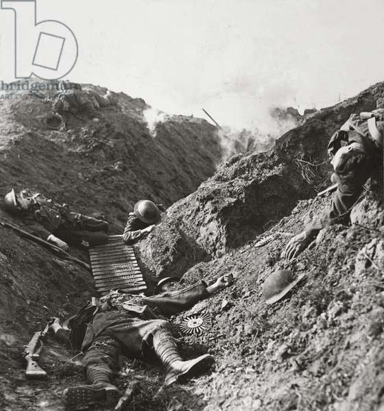 Men who fell covering the retreat of the 5th Army at Albert during the 'Hun' offensive, 1918 (b/w photo)