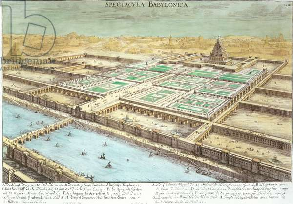 View of Ancient Babylon showing the Hanging Gardens and the Temple of Jupiter Belus, plate 3 from 'Entwurf einer historischen Architektur', engraved by Johann Adam Delsenbach (1687-1765) 1721 (engraving) (later colouration)