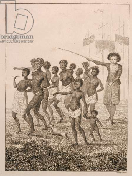 Group of Negroes, as imported to be sold for Slaves, 1793, plate 23 from 'Narrative of a Five Years' Expedition against the Revolted Negroes of Surinam', engraved by William Blake (1757-1827) pub. 1806 (engraving)