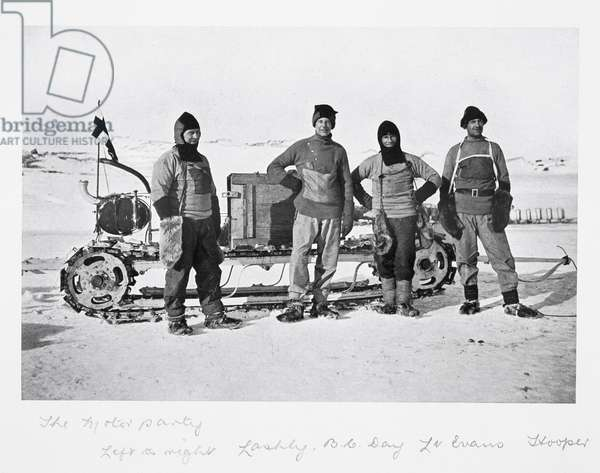 Motor Party - left to right: Lashly, Day, Evans and Hooper' from 'Scott's Last Expedition' (b/w photo)