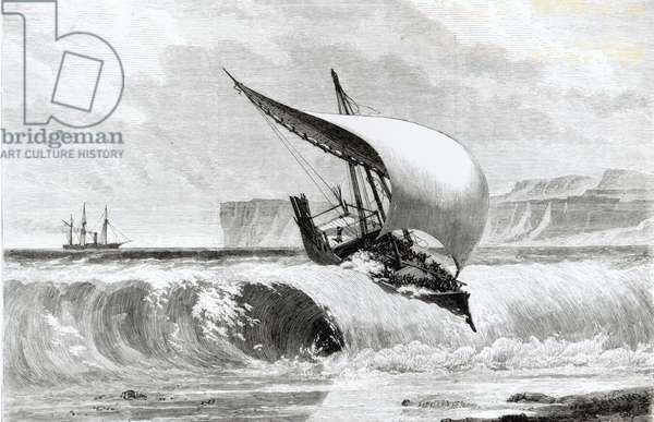 Destruction of a Slave Dhow on the Coast of Africa (engraving) (b/w photo)