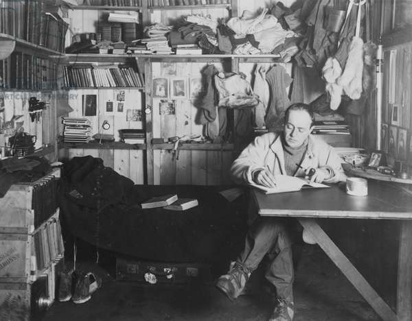 Captain Scott in his den at Winter Quarters, during the 'Terra Nova' Expedition (1910-13) to the South Pole, 1911 (b/w photo)