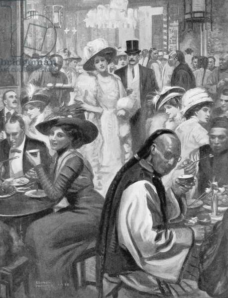 The Latest Craze of American Society, New Yorkers Dining in a Chinese Restaurant, illustration from 'The Graphic' Magazine, 1911 (litho)