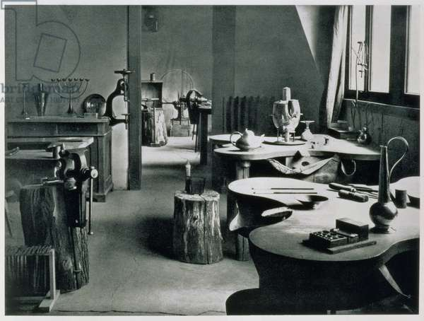 The Metal Workshop, from the Workshops of the Bauhaus, Weimar, 1923 (b/w photo)