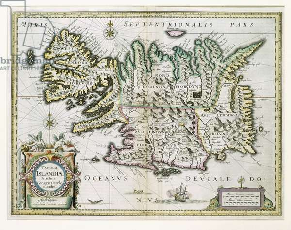 Map of Iceland (colour engraving)