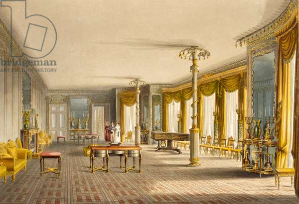 The North Drawing Room, or Music Room Gallery from 'Views of The Royal Pavilion, Brighton' by John Nash (1752-1835) 1826 (aquatint)
