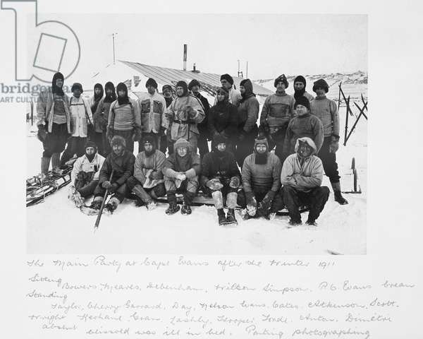 The Main Party at Cape Evans after the Winter 1911 (incl Scott), from 'Scott's Last Expedition' (b/w photo)