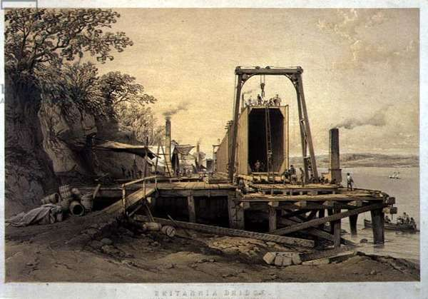 Britannia Bridge, Platform and Construction of Tubes, September 1848, engraved by the artist, pub. 1849 (litho)