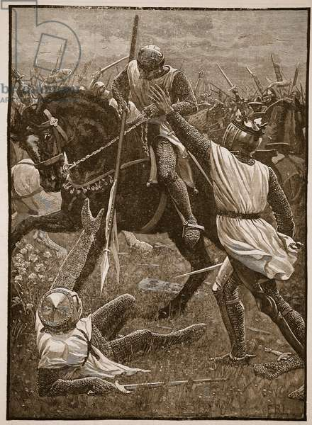 Battle of Evesham: King Henry in danger, illustration from 'Cassell's Illustrated History of England' (engraving) (sepia photo)