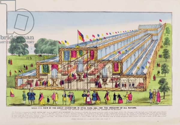 Bird's Eye View of the Great Exhibition in Hyde Park, Showing the Interior and the Exterior, pub. by A. Flude (print)
