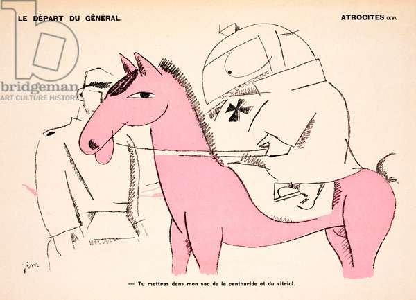 The Departure of the General, from 'Le Mot' Magazine, c.1915 (colour litho)
