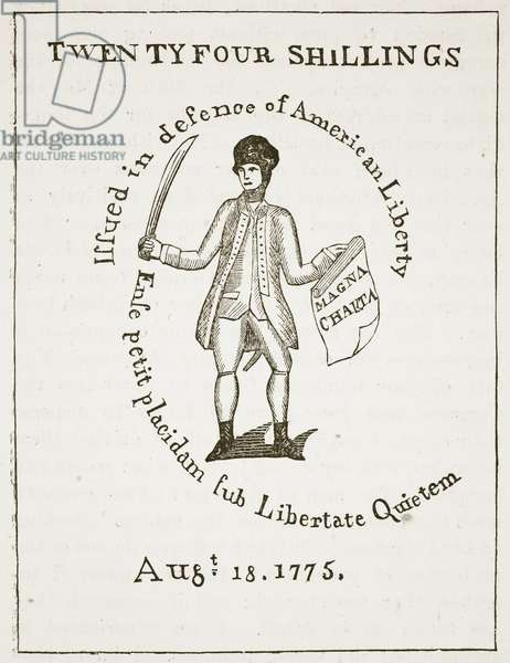 American Bill of Credit, 1775, illustration from 'Cassell's Illustrated History of England' (engraving) (sepia photo)
