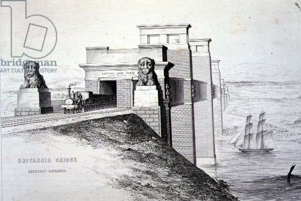 Britannia Bridge, Anglesey Entrance, engraved by the artist, pub. 1849 (litho) (for colour see 122445)