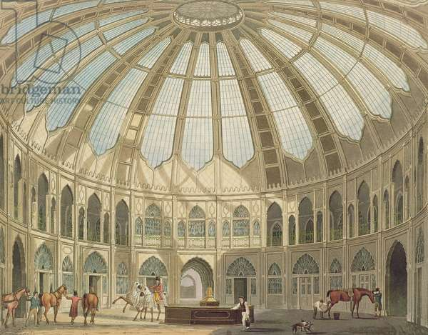 The Interior of the Stables, from 'Views of The Royal Pavilion, Brighton' by John Nash (1752-1835) 1826 (aquatint)