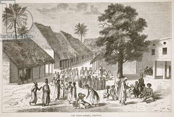 The Slave Market, Zanzibar, illustration from The Pictorial Edition of the Life and Discoveries of David Livingstone by J. Ewing Richie, pub. by A. Fullarton & Co., 1876 (litho)