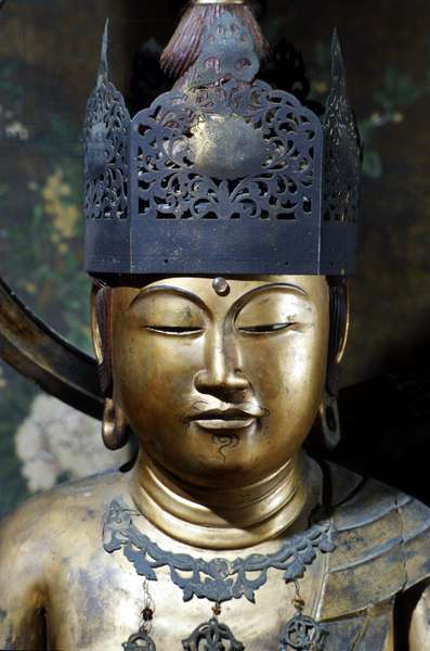Head of a Buddha from the Momoyama Period, 1568-1603 (painted wood and copper)