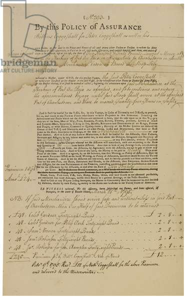 Insurance policy for the slave ship 'Lily' on the first leg of the Atlantic triangle, Newport, Rhode Island, 1795 (pen & ink on paper)