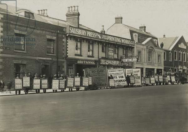 Campaign boards outside Salisbury Press and Printing Works during the General Election, Wilton Road, Salisbury, UK, 1929 (b/w photo)