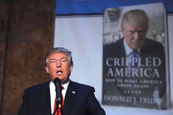 Donald Trump at a press conference his book 'Crippled America - How to Make America Great Again', Trump Tower, New York, 2015 (photo)