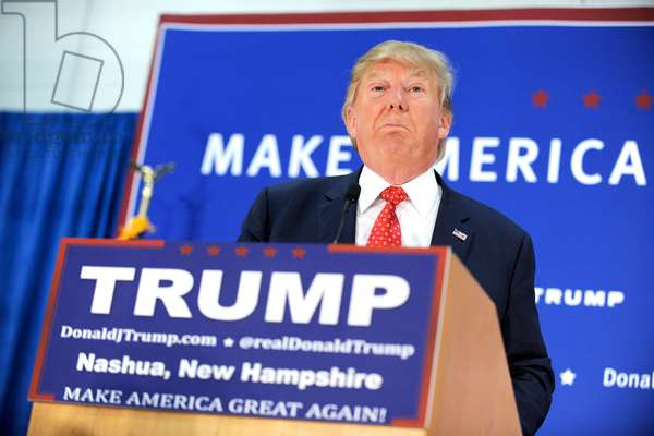 Presidential candidate Donald Trump speaks at a campaign rally atPennichuck Middle School in Nashua, 2015 (photo)