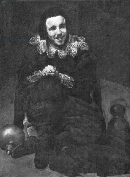 The Jester Calabacillas portrait by Diego Velázquez, 1636 (b/w photo)