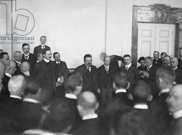 Friedrich Ebert during a press reception in Weimar, 1919 (b/w photo)