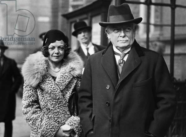David Lloyd George with daughter Megan Lloyd George, 1931 (b/w photo)