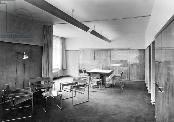 View of a living and dining room designed by Walter Gropius, with furniture by Marcel Breuer, 1926 (b/w photo)