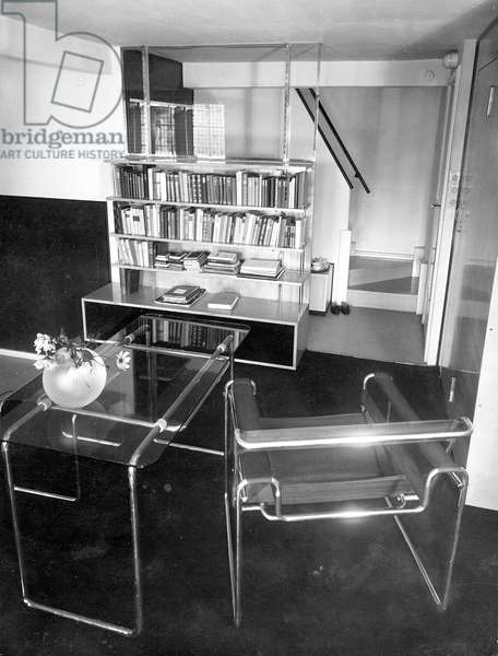Interior of a library designed by Marcel Breuer, 1930 (b/w photo)