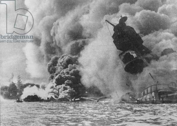 Attack on Pearl Harbour, 1941 (b/w photo)