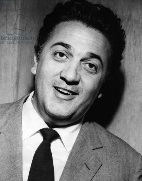 Portrait of Federico Fellini, 1940s (b/w photo)