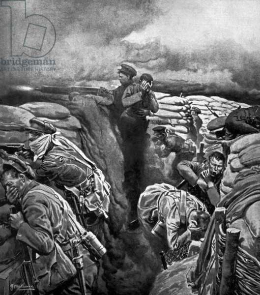 Ypres battle, 1915 : attack with mustard gas in trenches, illustration