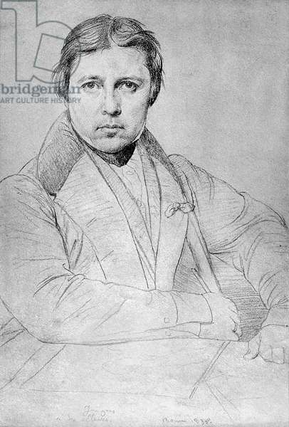 French painter Jean Auguste Dominique Ingres (1780-1867) self-portrait, drawing made in Rome, 1835