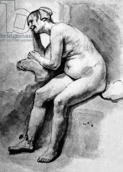 Naked woman drawing by Rembrandt van Rijn (1606-1669)
