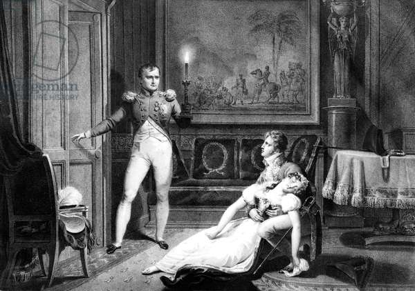 French emperor Napoleon 1st repudiating his wife empress Josephine (Josephine de Beauharnais) in 1809, engraving