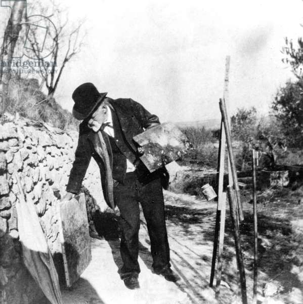 Paul Cezanne painting in Aix-en-Provence, 1906 (b/w photo)