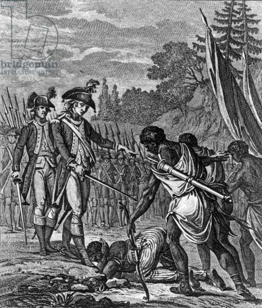 British expedition in Guadeloupe, 1759, by David after Le Jeune (engraving)